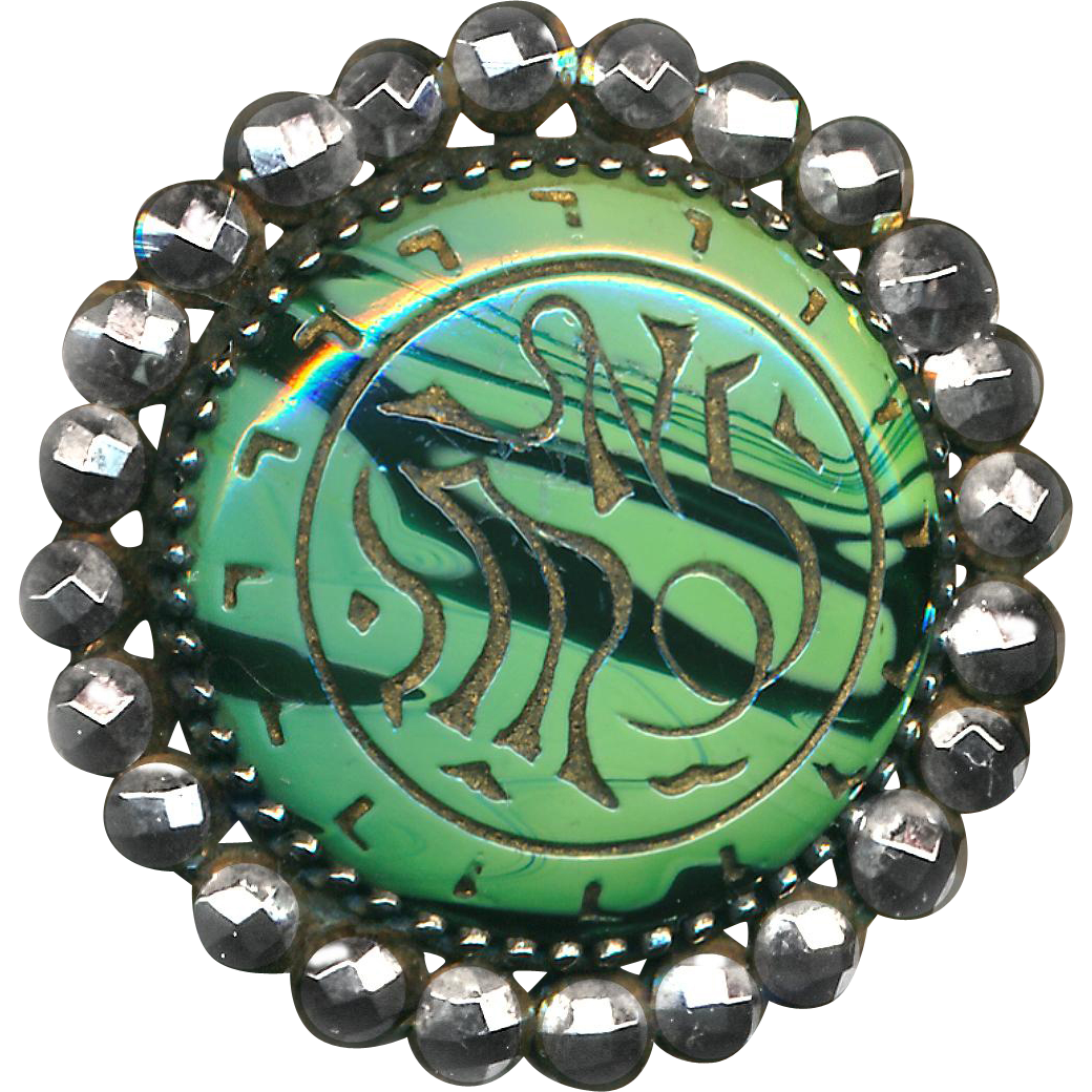 Button--Late 19th C. Neo-Egyptian Malachite Glass Jewel Brilliant Cut Steels
