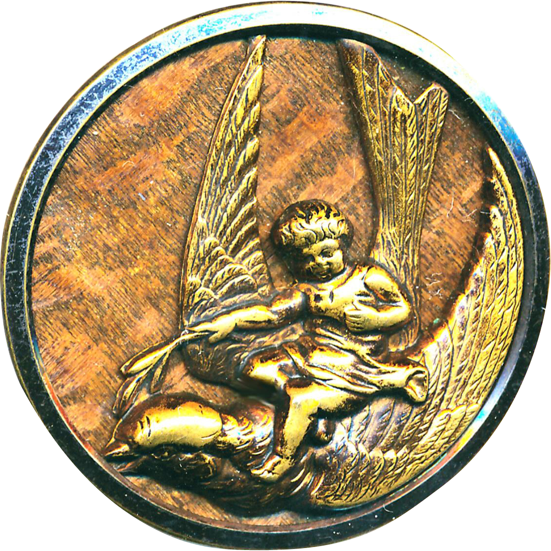 Button--Very Large 19th C. Tinted Brass On Wood Thumbelina on Swallow