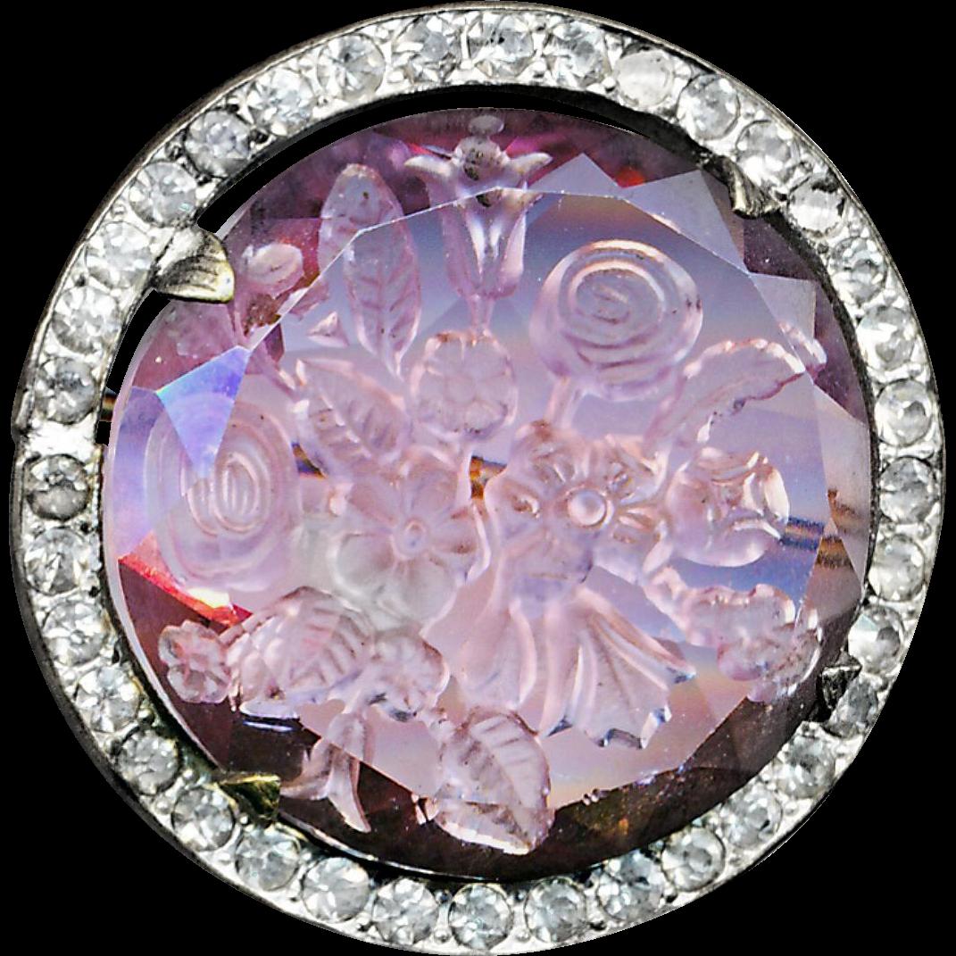 Brooch--Vinatge Reverse Intaglio Florals in Pink Glass in Rhinestone Border