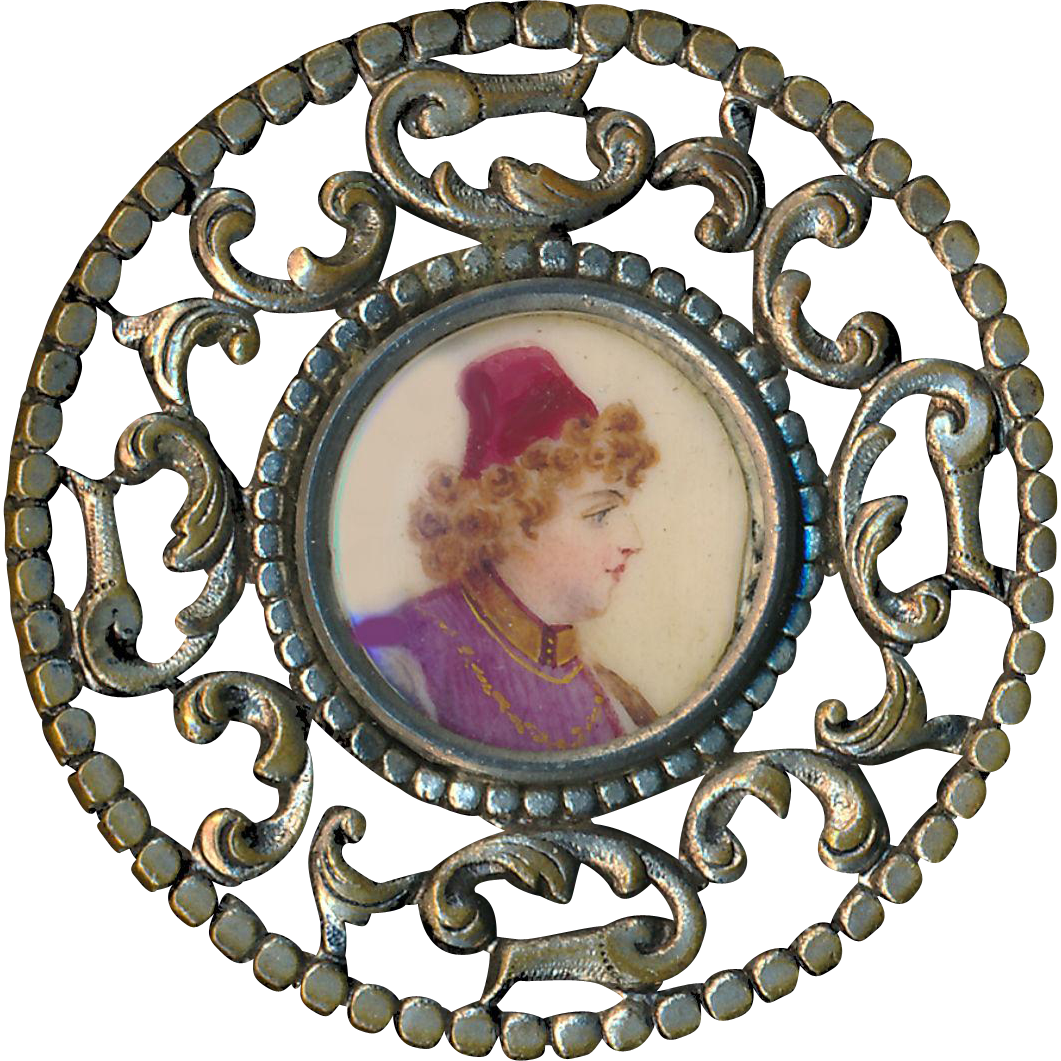 Button--Large Portrait of Man in Fez Under Glass in Brass--Hand-painted
