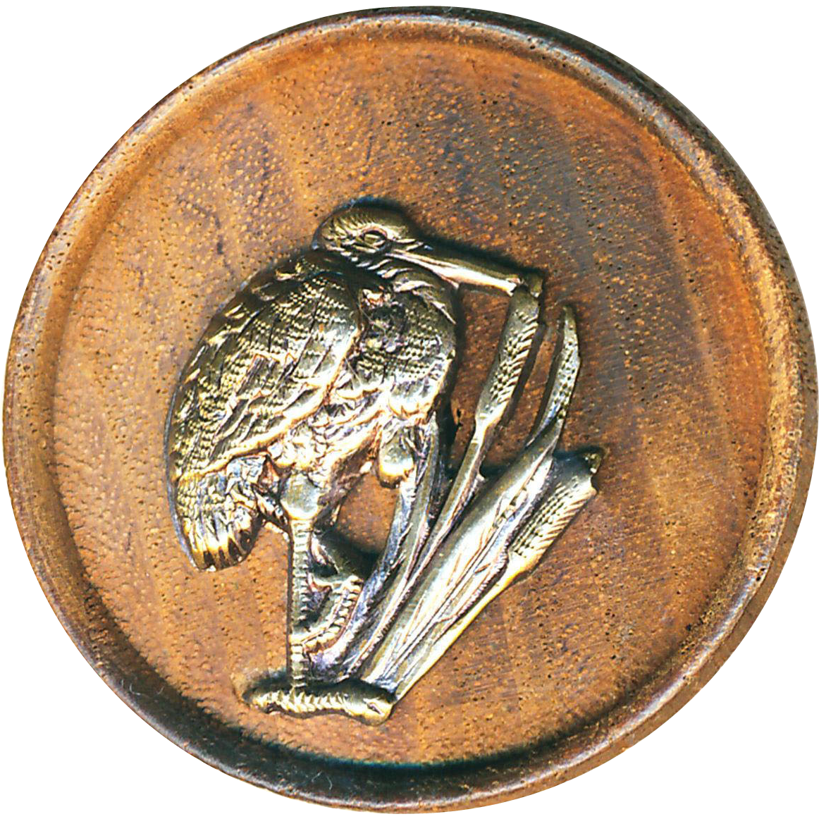 Button--Large Late 19th C. Thick Wood with Stork in Cat Tails Escutcheon