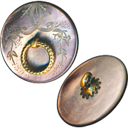 Button--ONE Mid-19th C. Regency Style Engraved Pearl Swags and Fixed Brass Ring