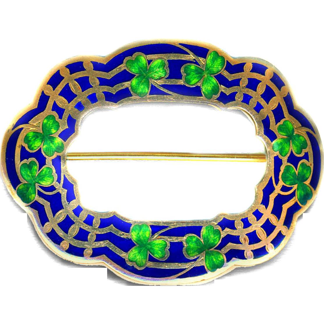 Brooch ~ Large Perfect Hand Painted Enamel Irish Shamrocks on Cobalt Champleve Enamel
