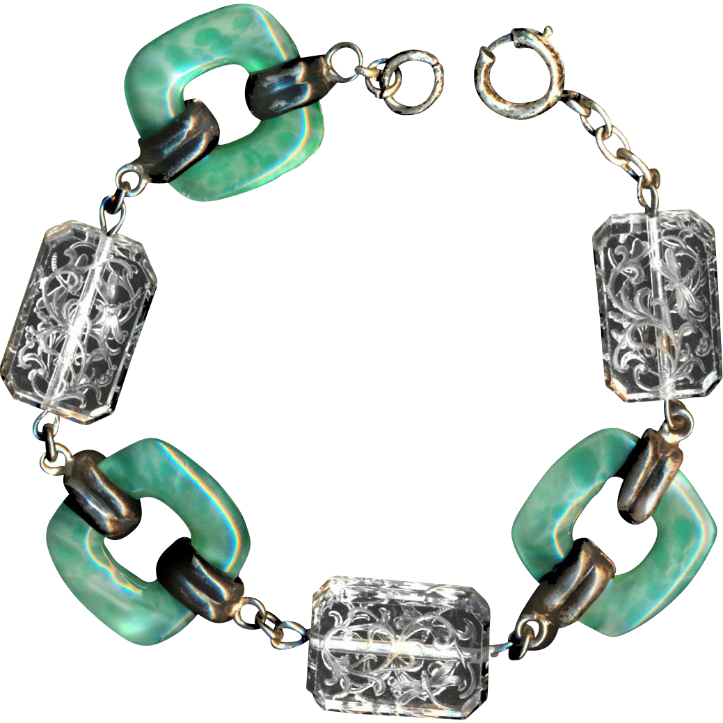 Bracelet--Old Art Deco Green Peking Glass & Engraved Crystal Dragonflies in Sterling Silver