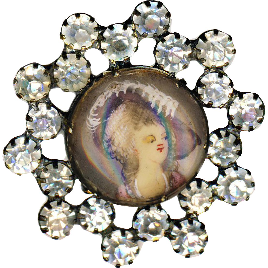 Button ~ Late 19th C. Painted Portrait Under Glass--Lady in Mauve & Ostrich Feathers