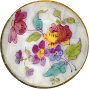 Button--RESERVED--Very Fine Large Late Georgian Soft Paste Porcelain Florals in Gold Rim