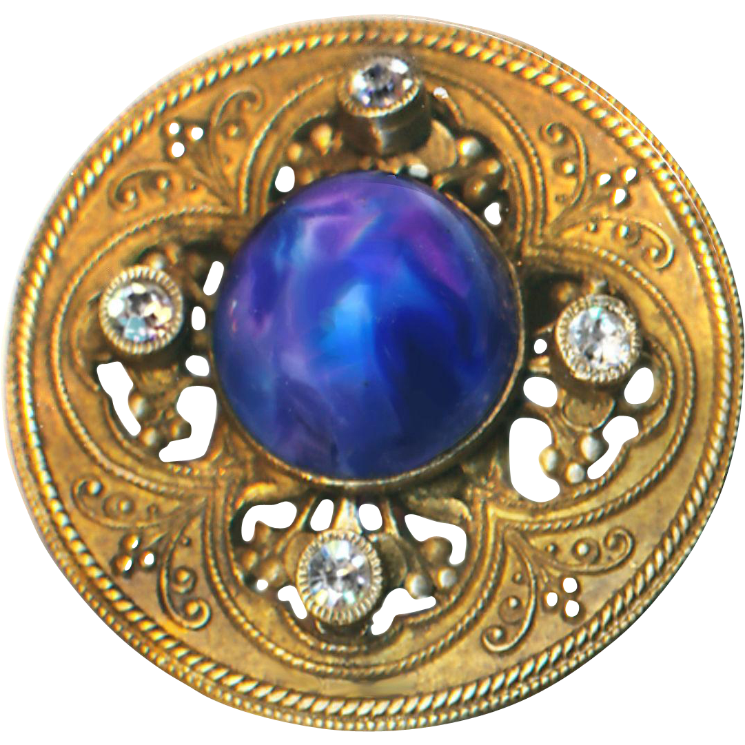 Button--Large Late 19th C. Openwork 1-piece Brass with Blue Gumdrop Glass Jewel & Rhinestones