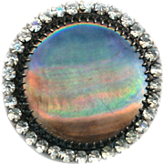 Button--Extra Large 19th C. Iridescent Silver Gray Pearl in Rhinestone Border in Brass--Restored Shank