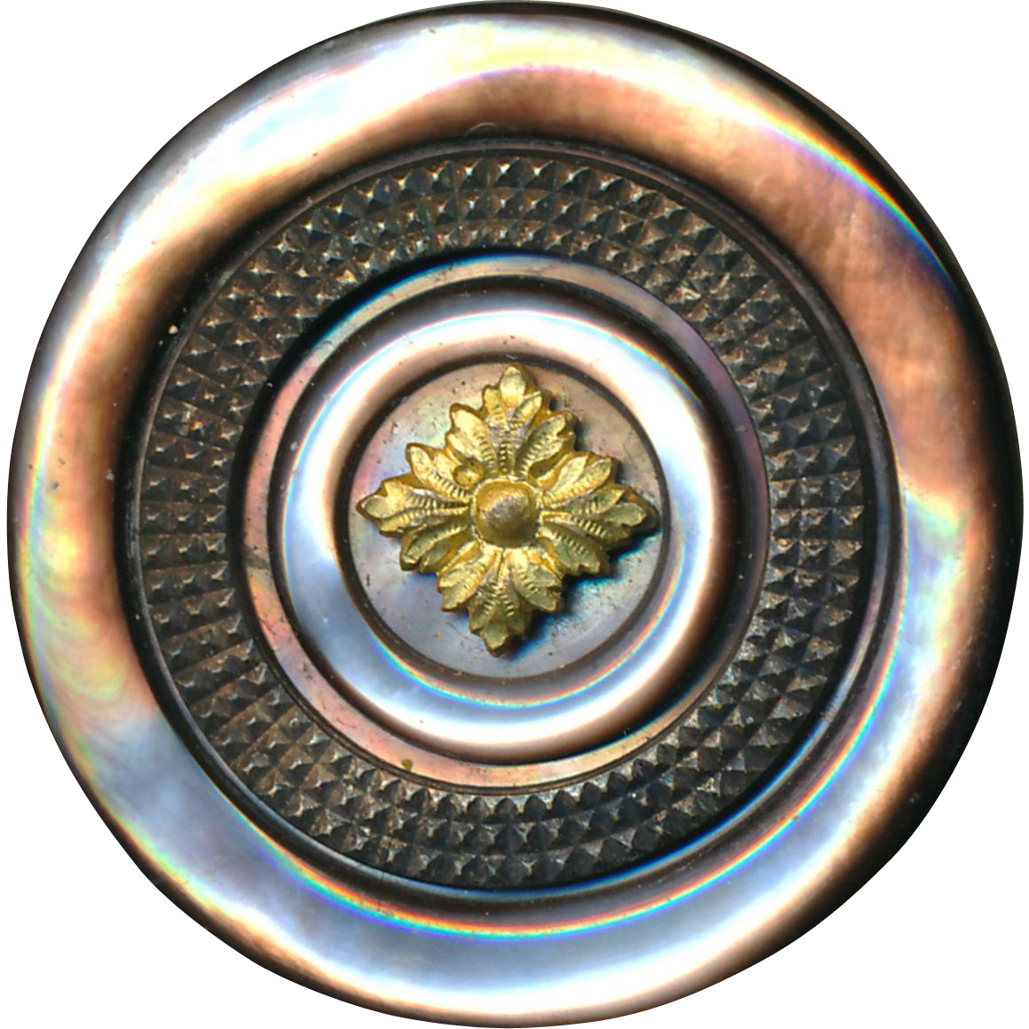 Button--Large Late 19th C. Intricately Carved Dark Pearl & Brass Quatrefoil
