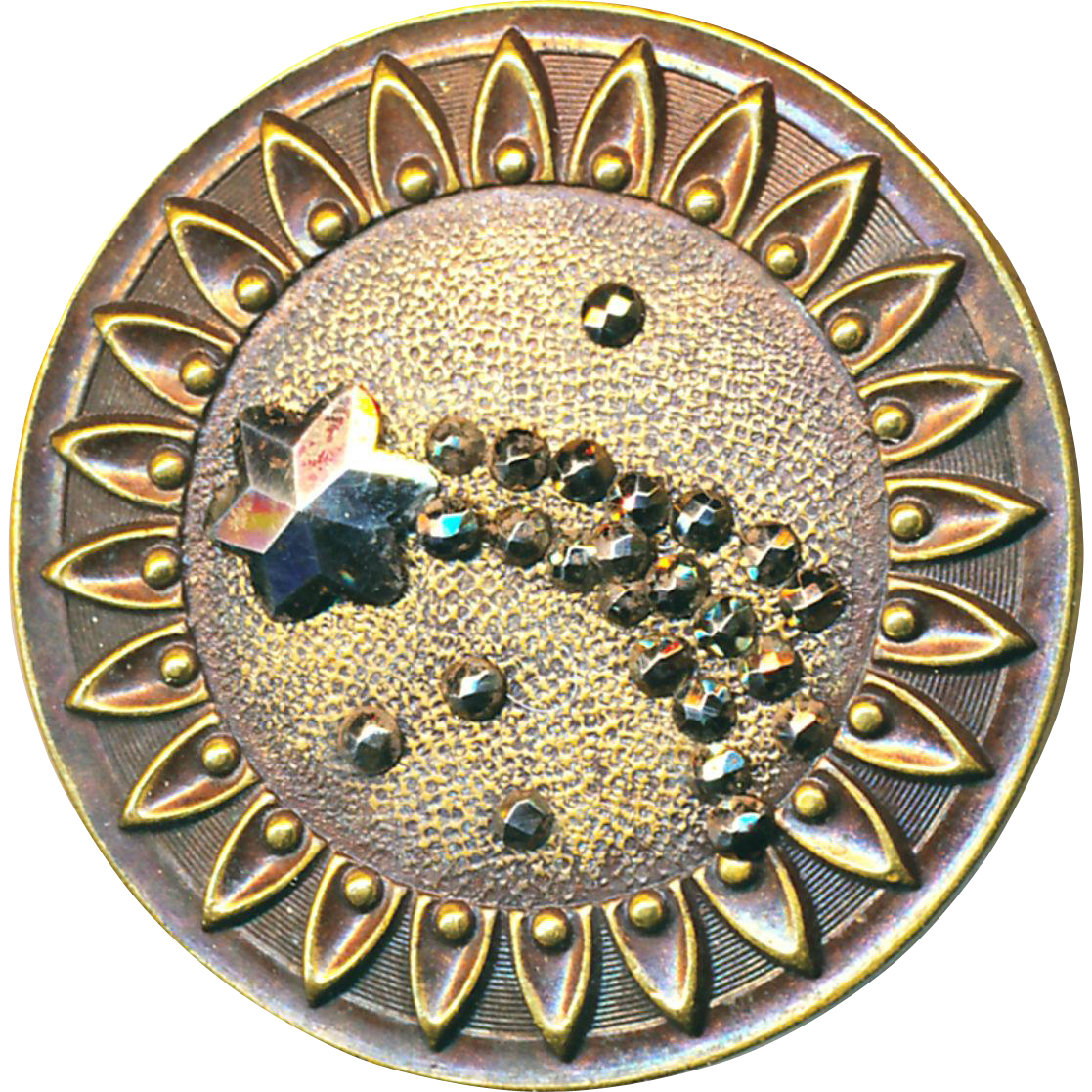 Button--Large 19th C. Cut Shooting Star or Comet Cut Steels on Brass