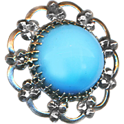 Button--Late 19th C. Faux Turquoise Glass Jewel in Mirror Bright Cut Steels