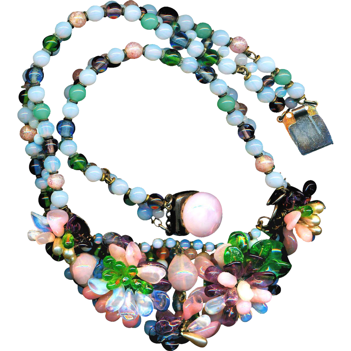 Necklace--Louis Rousselet Glass Beads Circa 1950--Made in France