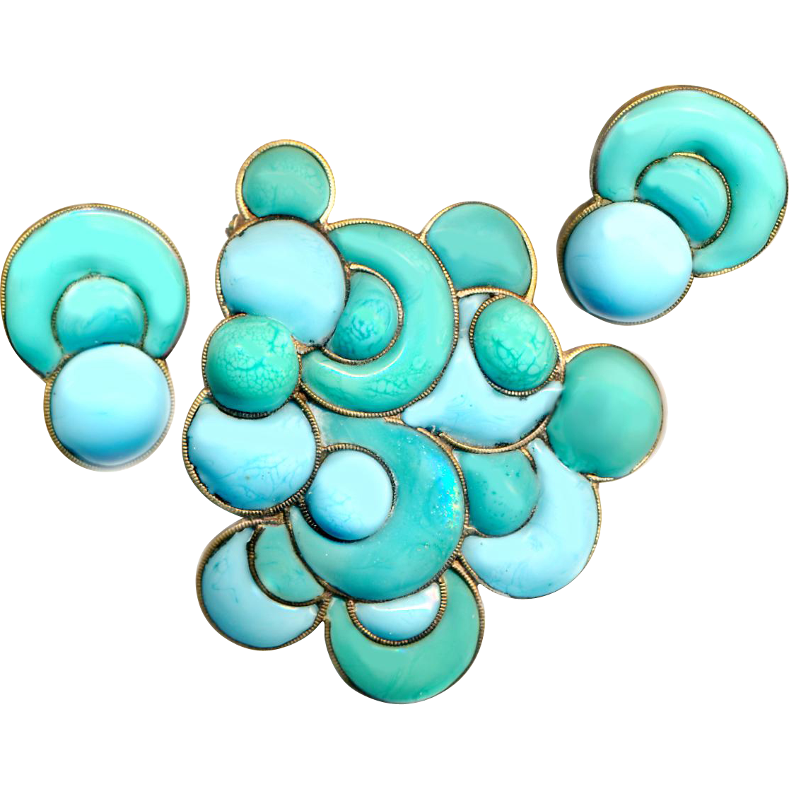 "Brooch & Earrings--Fine ""Gripoix"" Lampworked Glass in Brass Circa 1950"