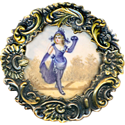Button--Extra Large 19th C. Painting Under Glass Actress in Bicorne Hat in Rococo Brass