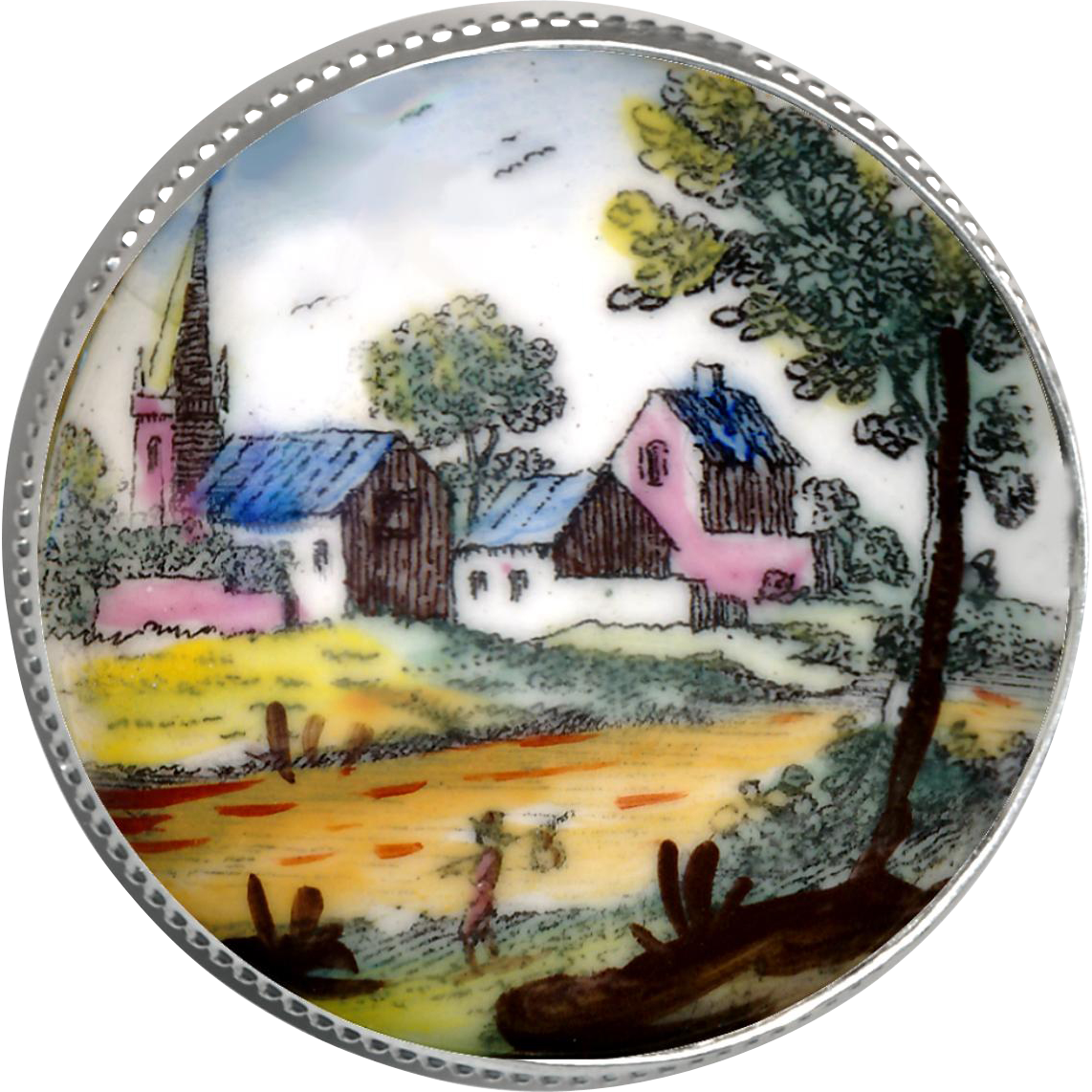 Button--Large Georgian Enamel on Copper Rustic Village Scene in Modern Silver Setting