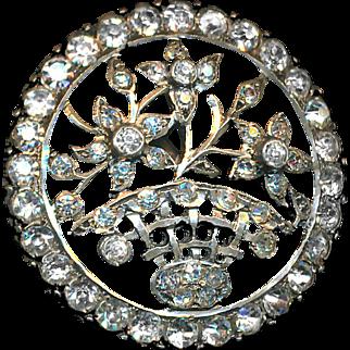 Button--Large Late Georgian Heavy Sterling Silver & Paste Flower Basket--Giardinetti
