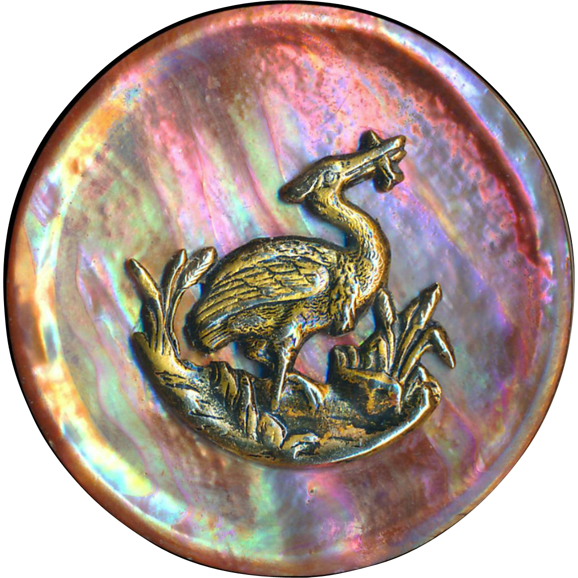 Button--Outstanding Extra Large 19th C. Natural Undyed Neon Red Abalone Pearl Brass Heron & Fish