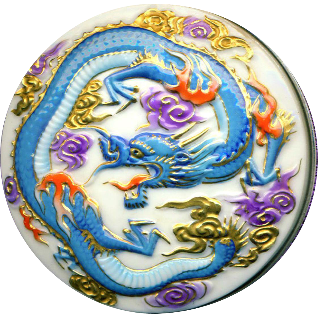 Brooch or Pendant ~ Large Vintage Toshikane Arita Porcelain Fire Dragon