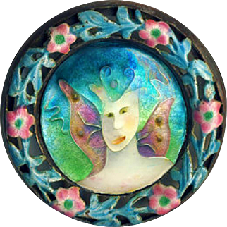 Brooch ~ Happy Marriage ~ Artisan Cloisonne Enamel Fairy in 19th C. Chinese Enamel on Silver