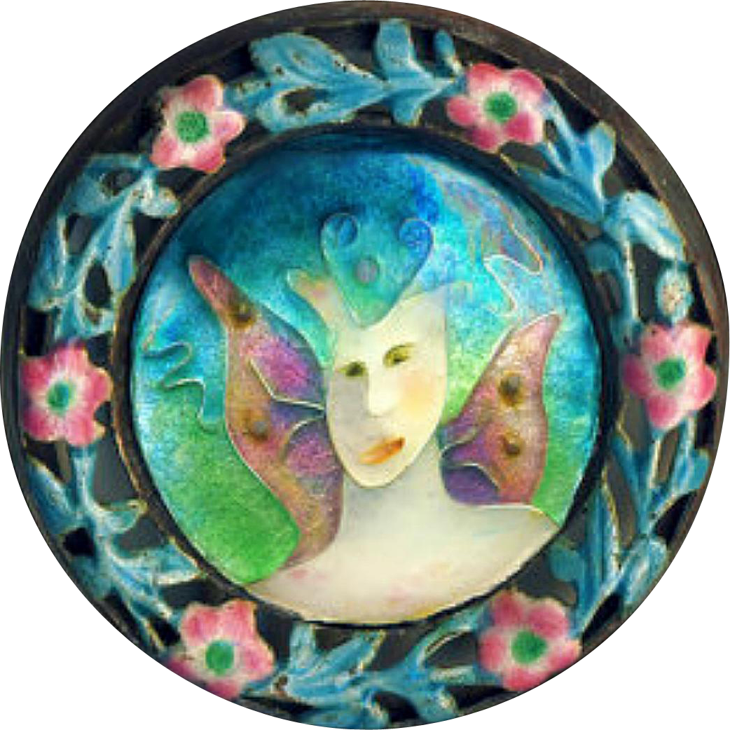 Brooch ~ Happy Marriage ~ Artisan Cloisonne Enamel Fairy in 19th C. Chinese Enamel on Silver