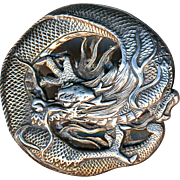 Button--RESERVED---------Japanese Silver Dragon Large Exceptional Quality Hand Crafted 19th C.