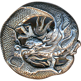 Button--Japanese Silver Dragon Large Exceptional Quality Hand Crafted 19th C.