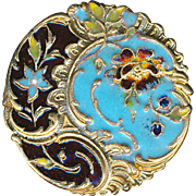 Button--Large Champleve Enamel Wild Rose Rocaille Rococo Design Late 19th C.