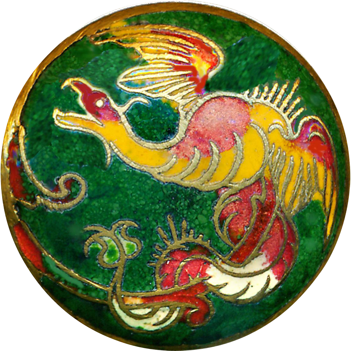 Button--Fantastical Beast in Red & Green Champleve Enamel Late 19th C.