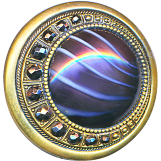 Button--Large Art Glass Jewel in Brass Crescent with Cut Steels Late 19th C.