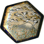 Button--Large Hexagonal Satsuma Pottery Red-crested Cranes Over Mt. Fujiyama Late 19th C.