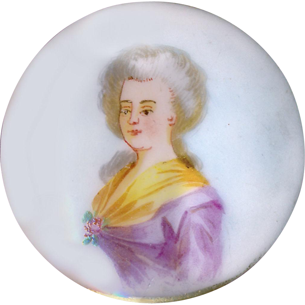 Button--Porcelain Pink Lady Late 19th C. Hand Painted Soft Paste with Modeled Shank