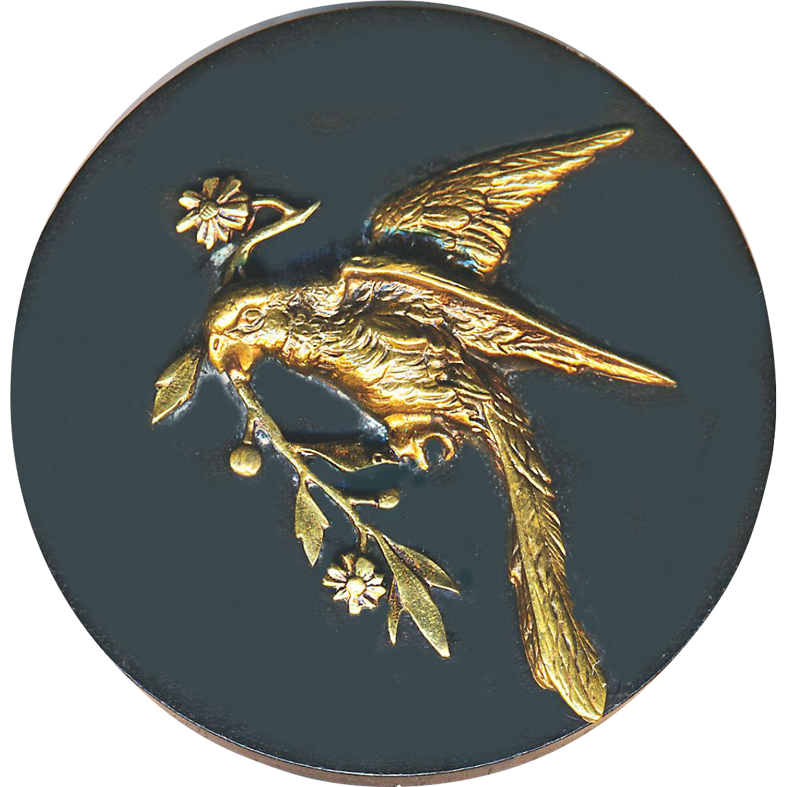 Button--Huge Detailed Brass Parrot on Gutta Percha--Not a Wafer, a Hockey Puck