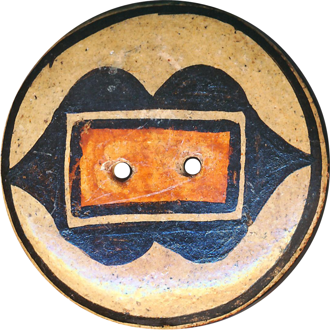 Button--Large Early 20th C. Zia Pueblo Pottery--Native American 3-color Design 2-hole Sew Through