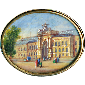 Button--Large 19th C. Hand Painted Scene of Louvre Under Glass