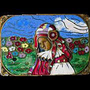 Brooch--Arts & Crafts Cloisonne Enamel Girl in Field of Flowers on Cast Brass