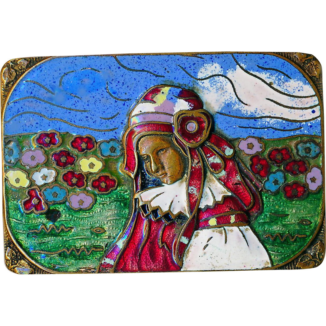 Brooch--Arts & Crafts Cloisonne Enamel Girl in Field of Flowers on Cast Brass