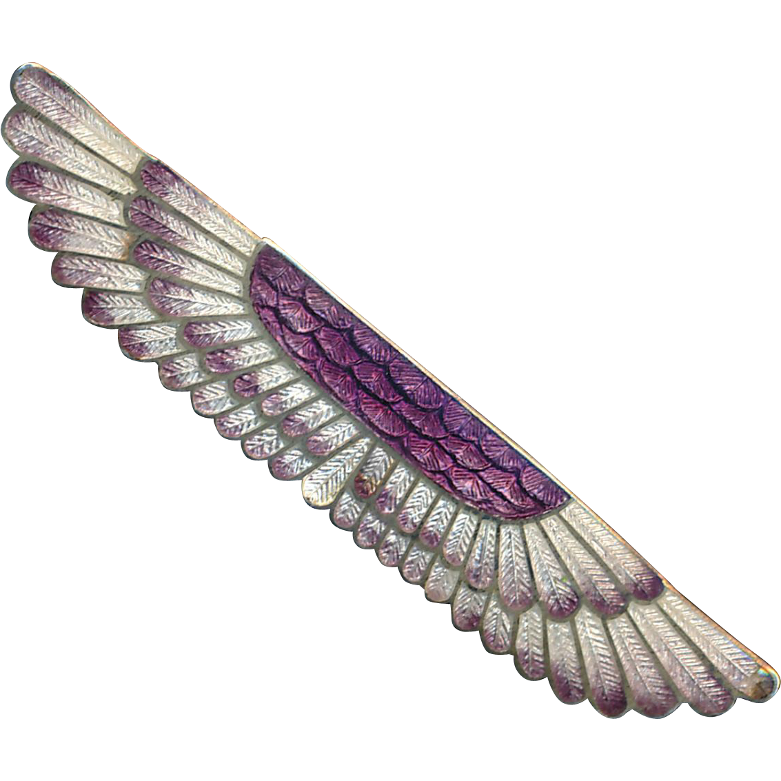 Brooch--Early 20th C. Egytptian Revival Enamel and Sterling Silver Wings