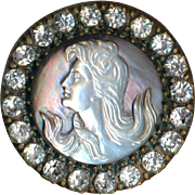 Button--Large Late 19th C. Art Nouveau Lady in Cameo Carved Pearl and Rhinestone Border