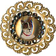 Button--Large Late 19th C. Reverse Painted Terrier Under Glass with Cut Steels