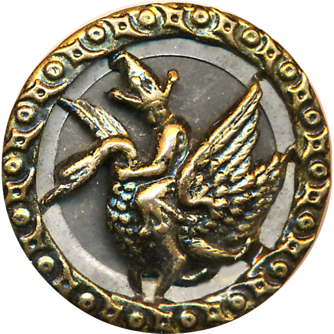 Button--Uncommon Medium Size 19th C. Tiny Jester Riding Swan