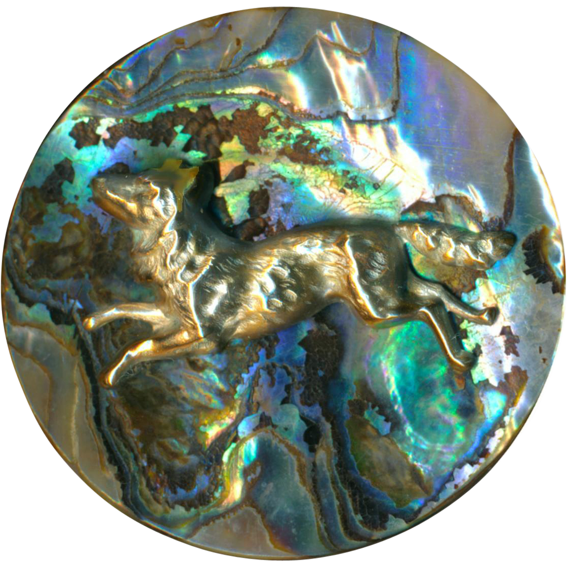 Button--Extra Large Late 19th C. Abalone Pearl with Running Wolf or German Shepherd