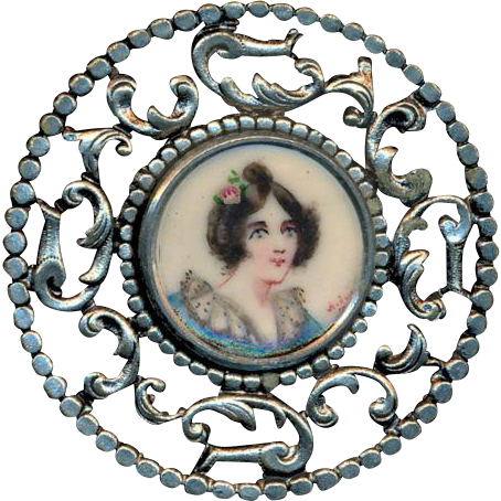 Button--Large Vintage Empire Lady  Painted Under Glass in White Metal