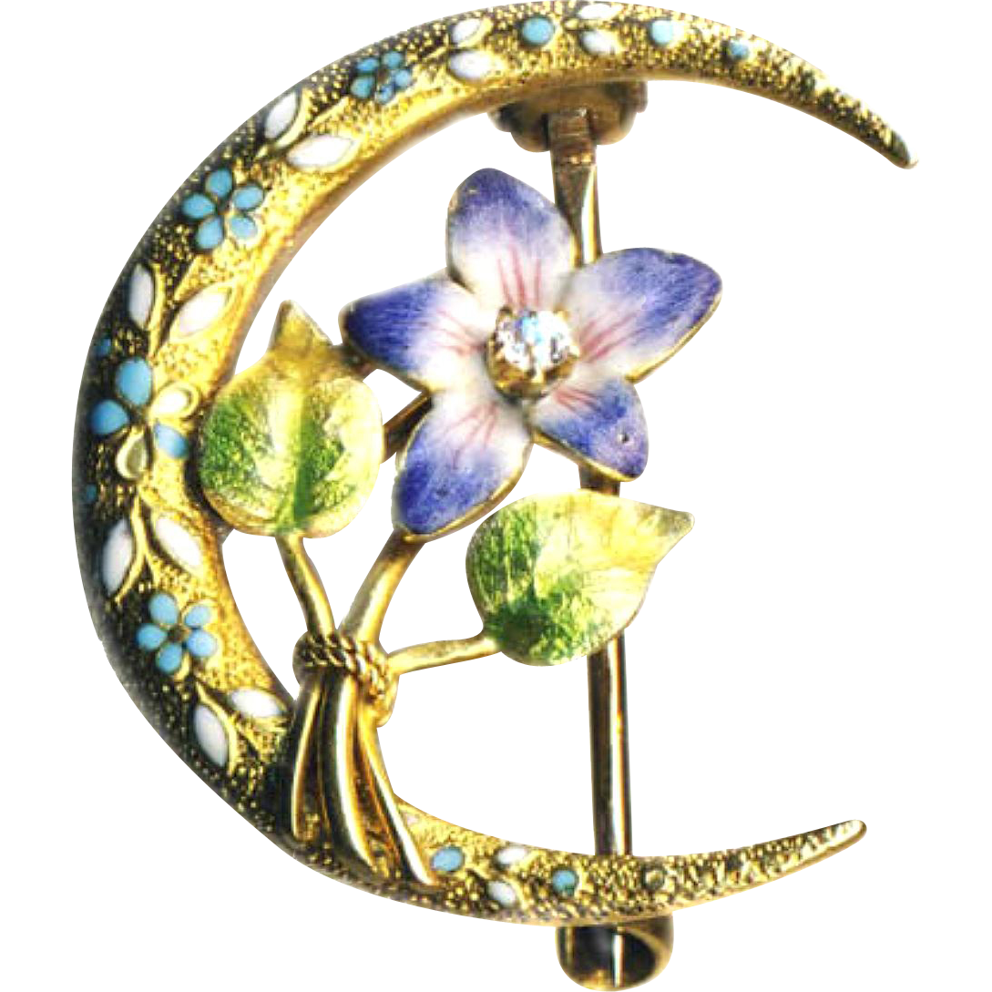 Pin--Early 20th C. Enamel Violet and Diamond by Krementz on 14 Karat Gold