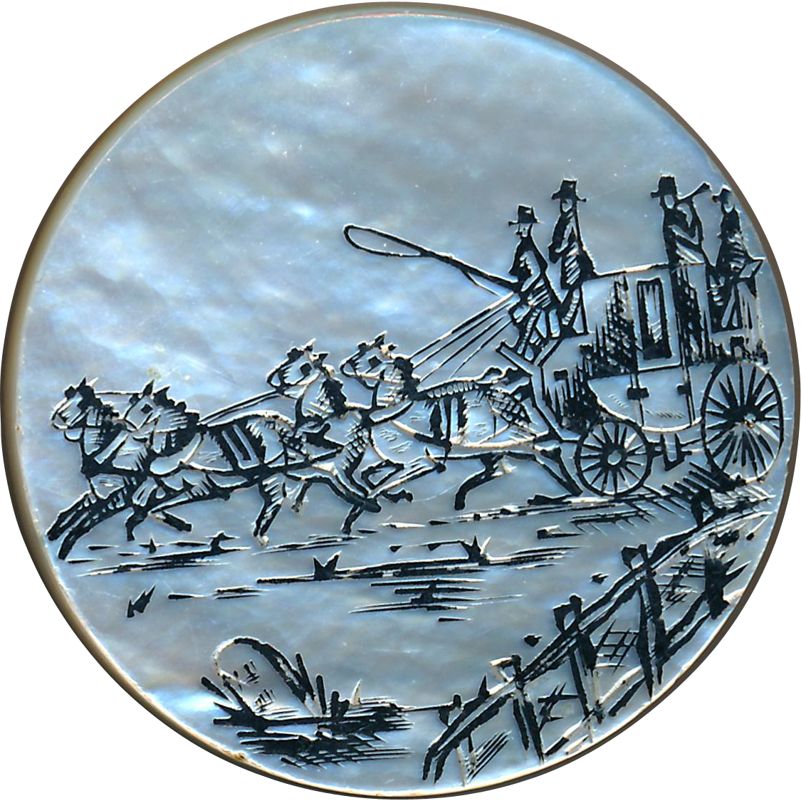 Button--Large Georgian Engraved Pearl Coaching Scene