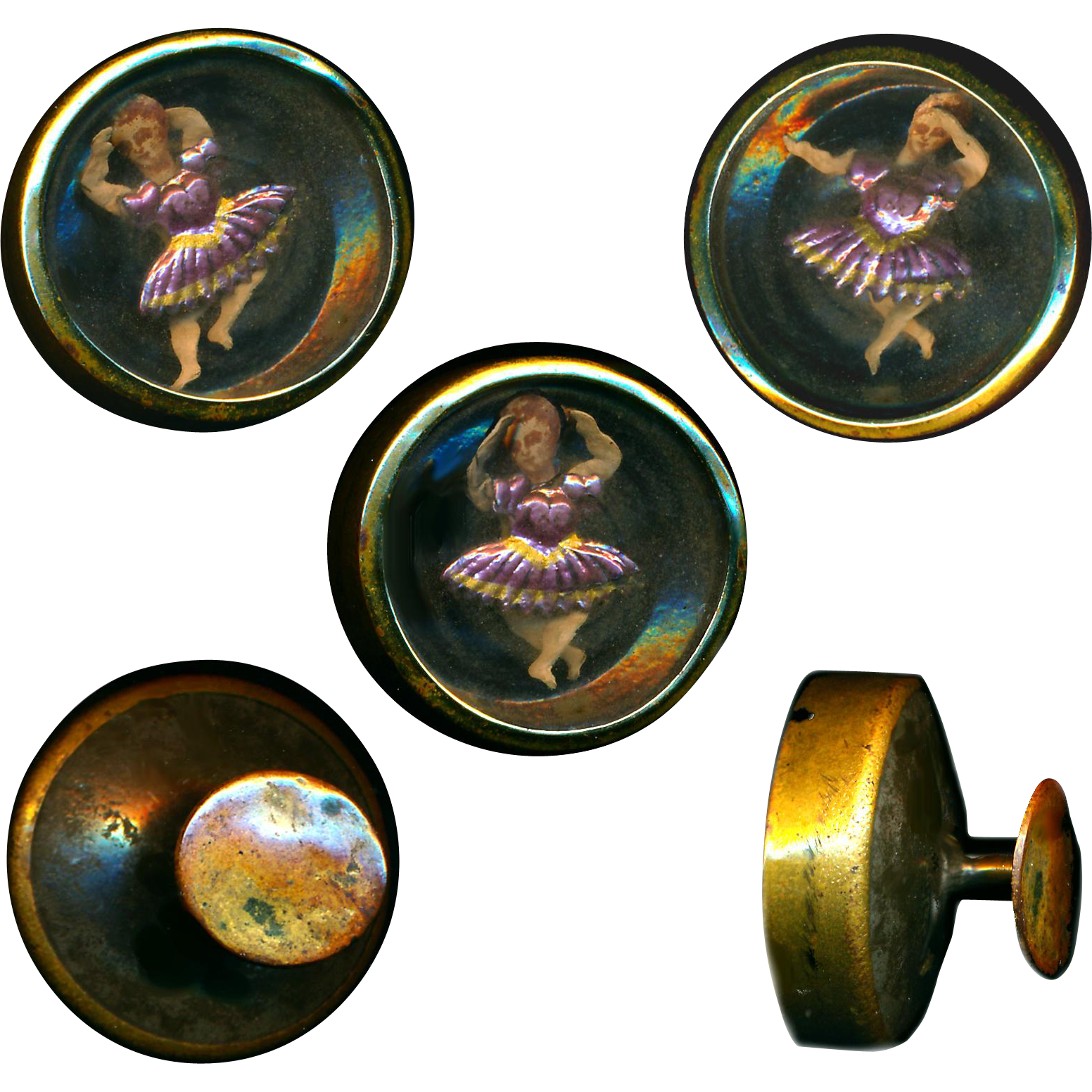 Stud--Mid-19th C. Novelty Cuff Button Dancing Girl in Pink Foil Under Glass