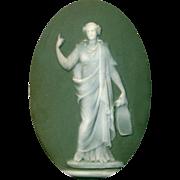 Button--Large Modern Green Jasperware Classical Figure