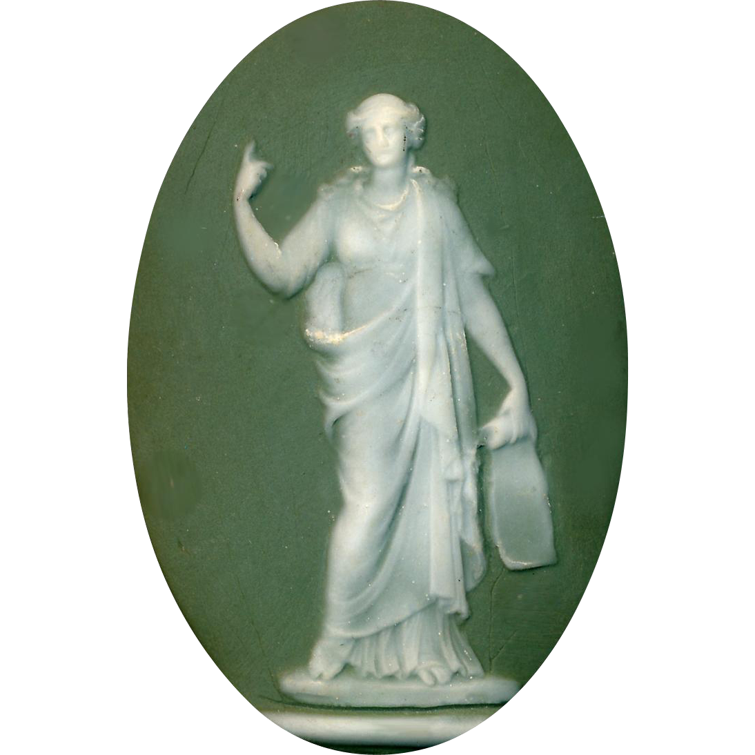 Button--Large Modern Green Jasperware Classical Figure