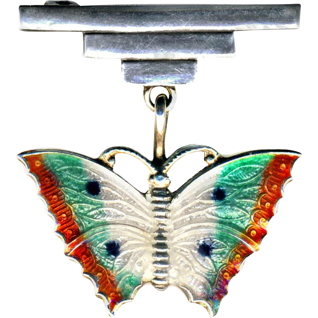 Brooch--Art Deco Era Enamel on Sterling Silver Butterfly Drop