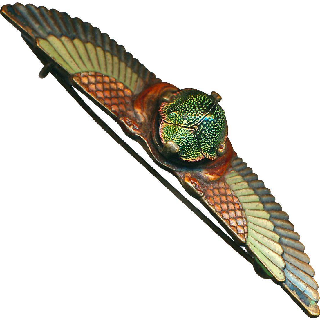 Brooch--Vintage Neo-Egyptian Cold-enameled Bronze with Winged Real Scarab Beetle