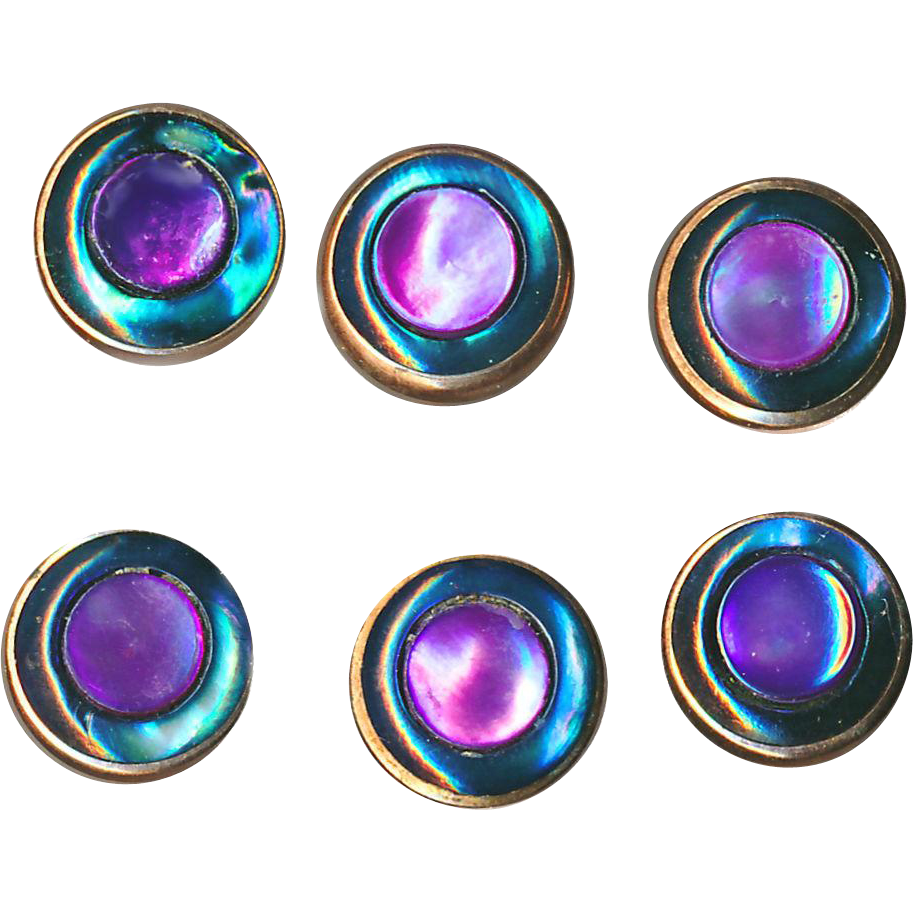 Button--6 Beautiful Small Purple & Teal Inlay Pearl in Gold-plated Brass